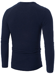 Round Neck  Plain Men Knitted T-Shirt