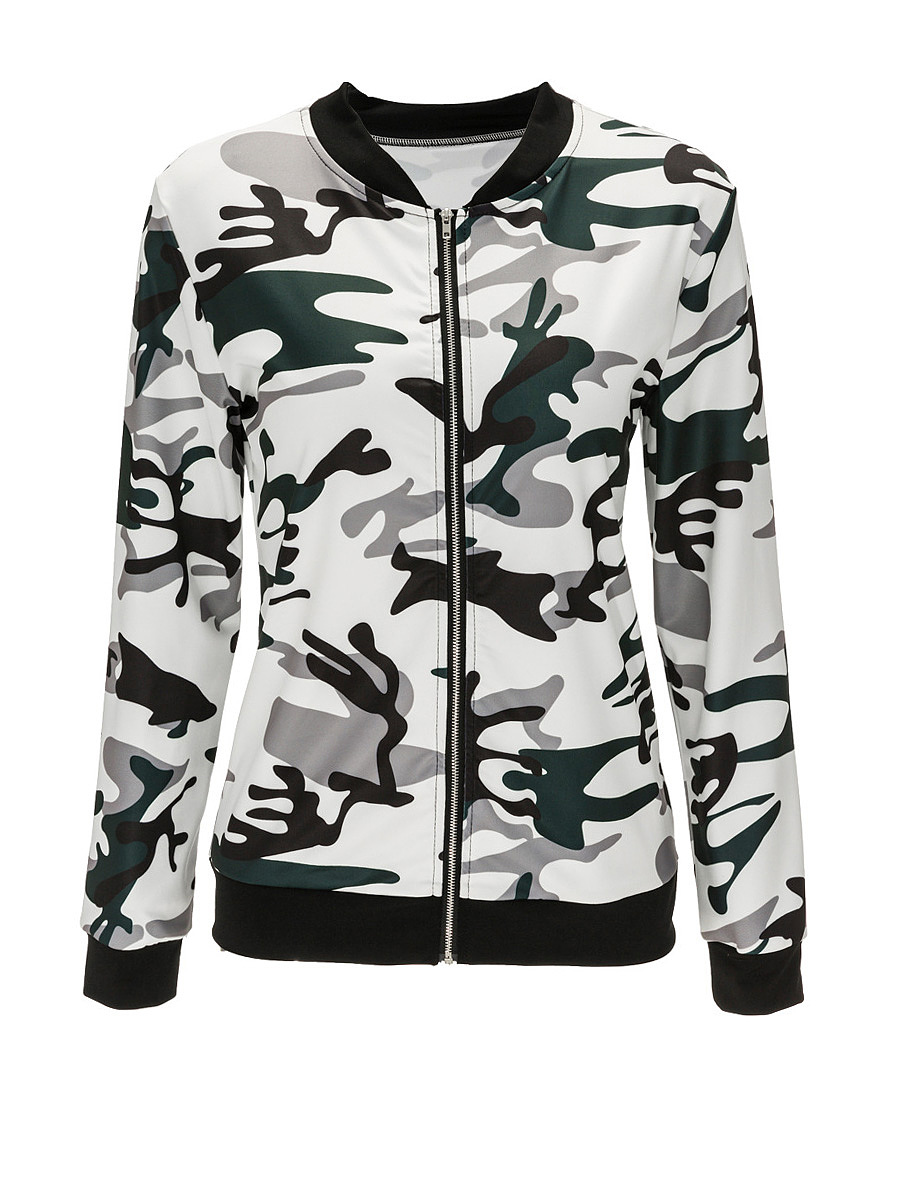 Band Collar Bomber Jacket In Camouflage