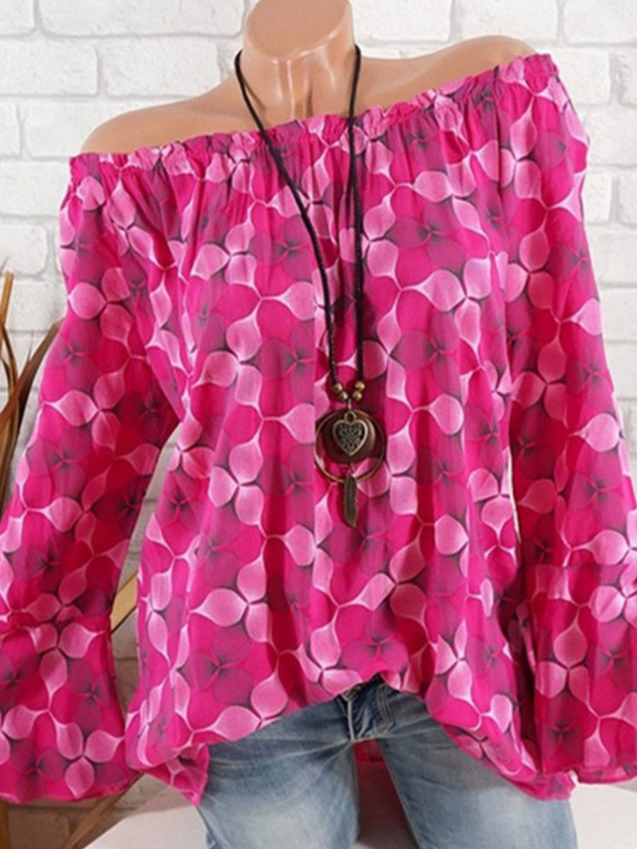 Spring Summer  Polyester  Women  Off Shoulder  Floral Printed  Bell Sleeve  Long Sleeve Blouses