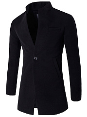 Men Band Collar Vented Single Button Plain Woolen Coat