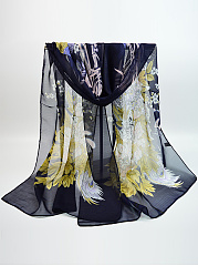 Chiffon Floral Peacock Printed Scarves