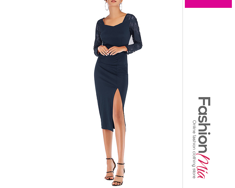 V-Neck  Slit  Lace Plain Bodycon Dress