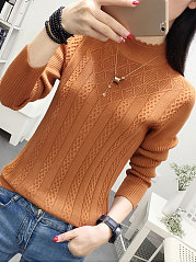 Round Neck  Embossed  Long Sleeve Pullover