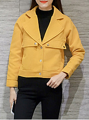 Fold-Over Collar  Decorative Button  Plain  Long Sleeve Jackets
