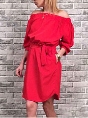 Off Shoulder  Belt  Plain Casual Shift Dress