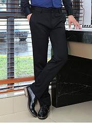 Mens-Formal-Solid-Pocket-Straight-Pants