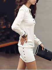 Split Neck Decorative Button Plain Mini Bodycon Dress