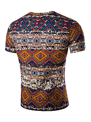 Ethnic Style Printed V-Neck T-Shirt