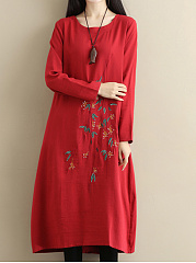 Round Neck Embroidery Pocket Maxi Dress