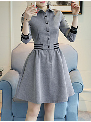 Turn Down Collar  Plain Skater Dress