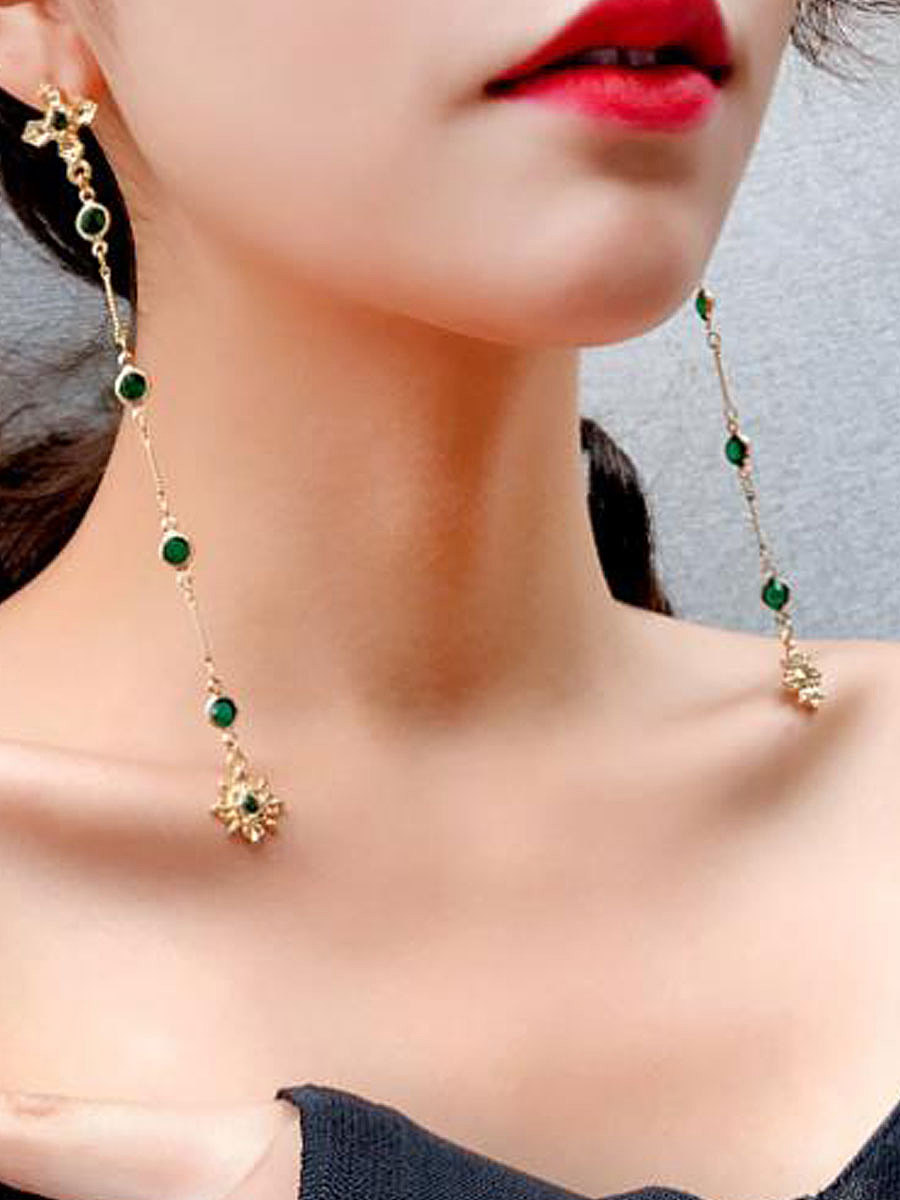 Faux Crystal Green Long Earrings For Women