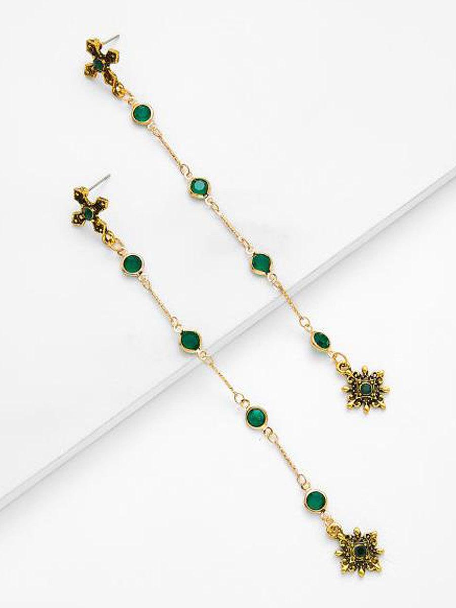 Faux Crystal Green Long Earrings For Women