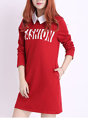 Turn Down Collar  Fake Two-Piece  Color Block Letters Shift Dress