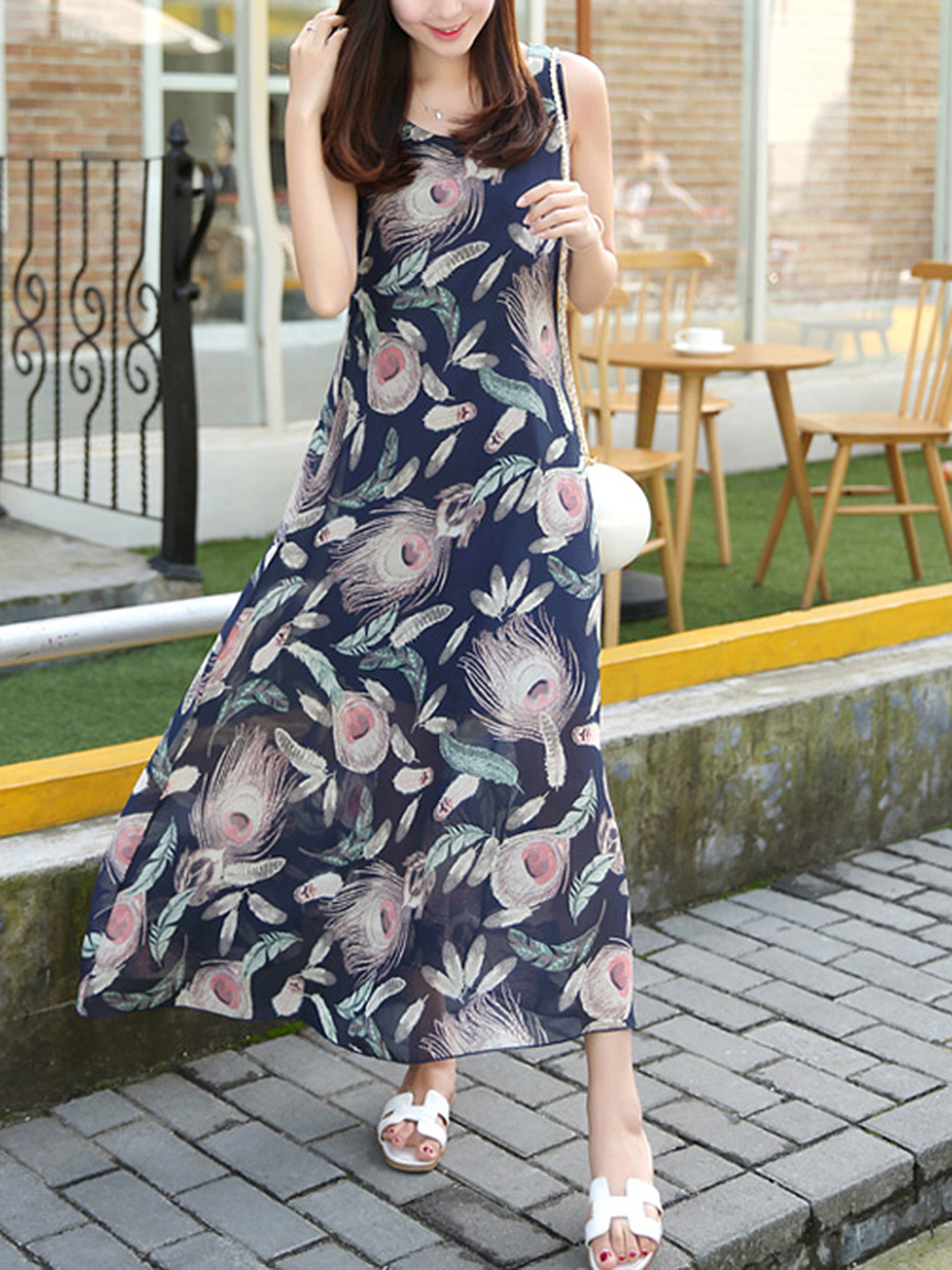 Loose Round Neck  Printed  Chiffon Maxi Dress