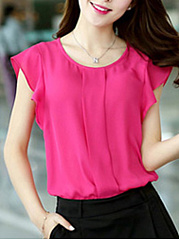 Chiffon  Round Neck  Plain  Short Sleeve Blouse