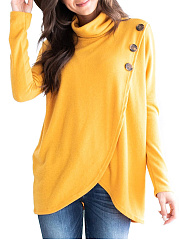 Decorative Button  Plain  Long Sleeve Sweatshirts
