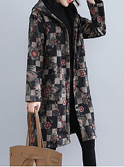 Hooded  Slit Pocket  Abstract Print  Long Sleeve Coats