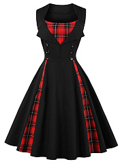 Vintage Sweet Heart Plaid Skater Dress