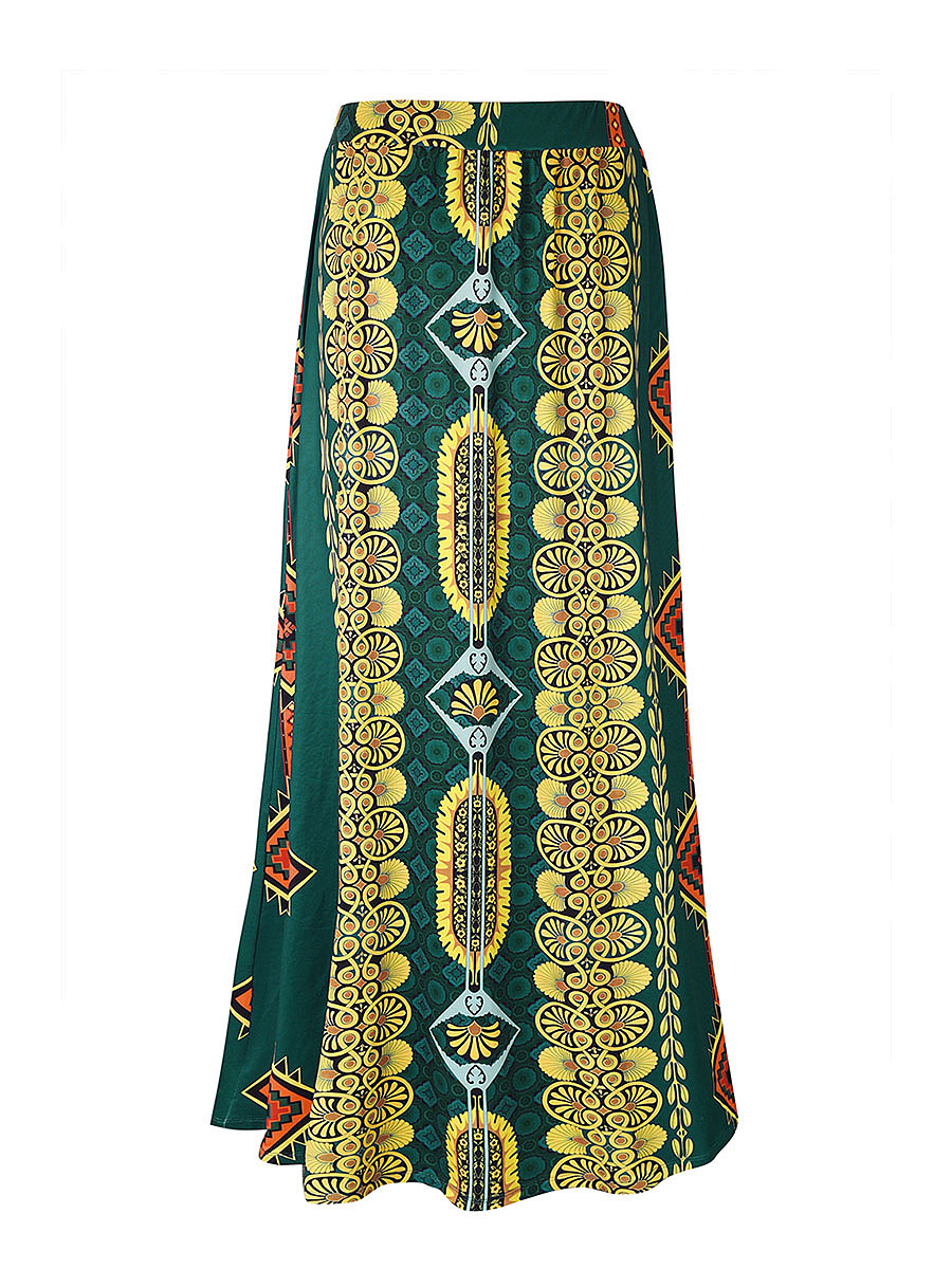 Color Block Tribal Printed Flared Maxi Skirt