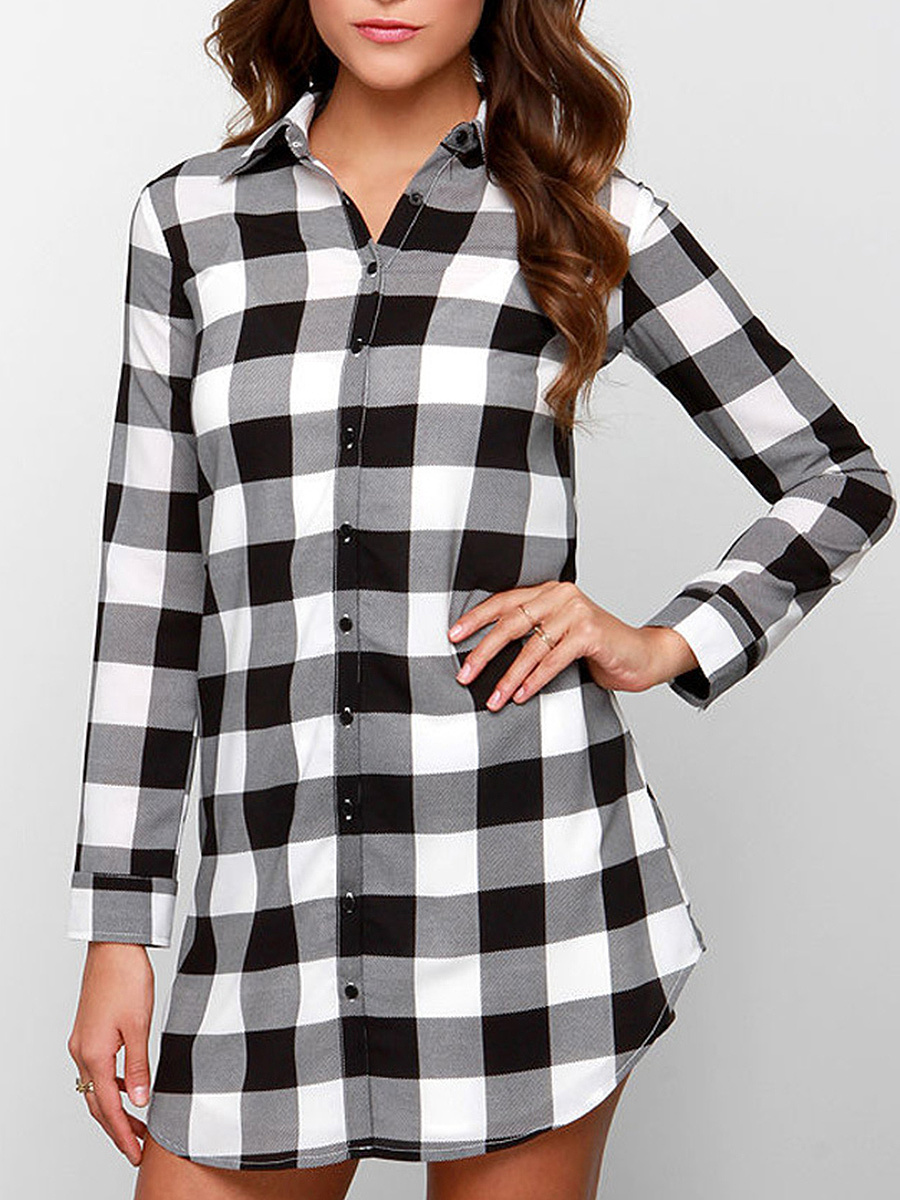 Plaid Curved Hem Long Sleeve T-Shirt