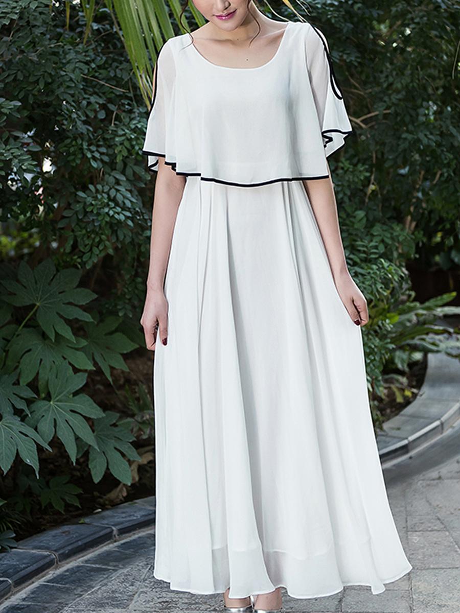 Round Neck  Contrast Trim  Plain Maxi Dress