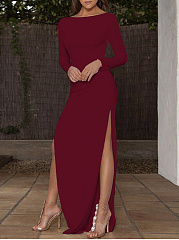 Round Neck  Side Slit  Plain Maxi Dress