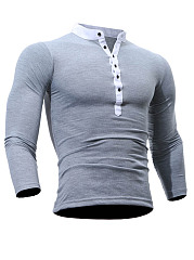 Band Collar  Contrast Trim Single Breasted  Long Sleeve Long Sleeves T-Shirts