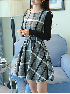 Round Neck Plaid Patchwork Belt Skater Dress