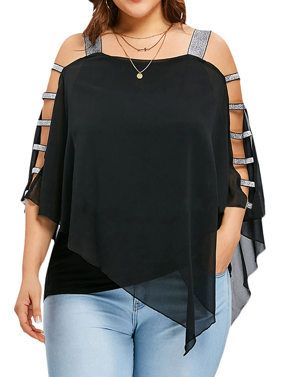 Open Shoulder  Patchwork  Plain  Batwing Sleeve Plus Size T-Shirts