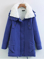 Hooded  Drawstring Zips  Decorative Button  Plain  Long Sleeve Coats