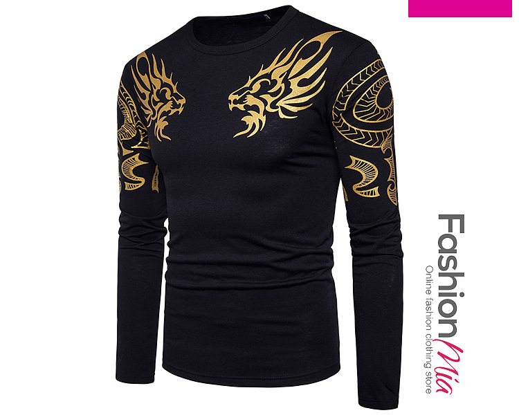 Round Neck  Printed  Long Sleeve Long Sleeves T-Shirts 770359C318F4