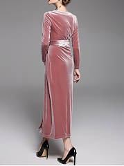 V-Neck Belt Plain Velvet Maxi Dress