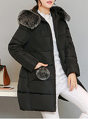 Hooded Pocket Quilted Plain Padded Coat