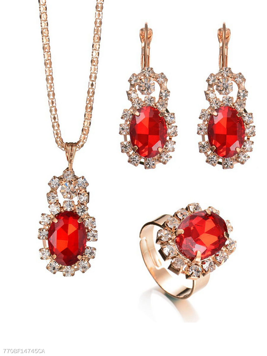 A Suit Of Retro Rhinestone Imitated Crystal  Necklace Ring And Earrings