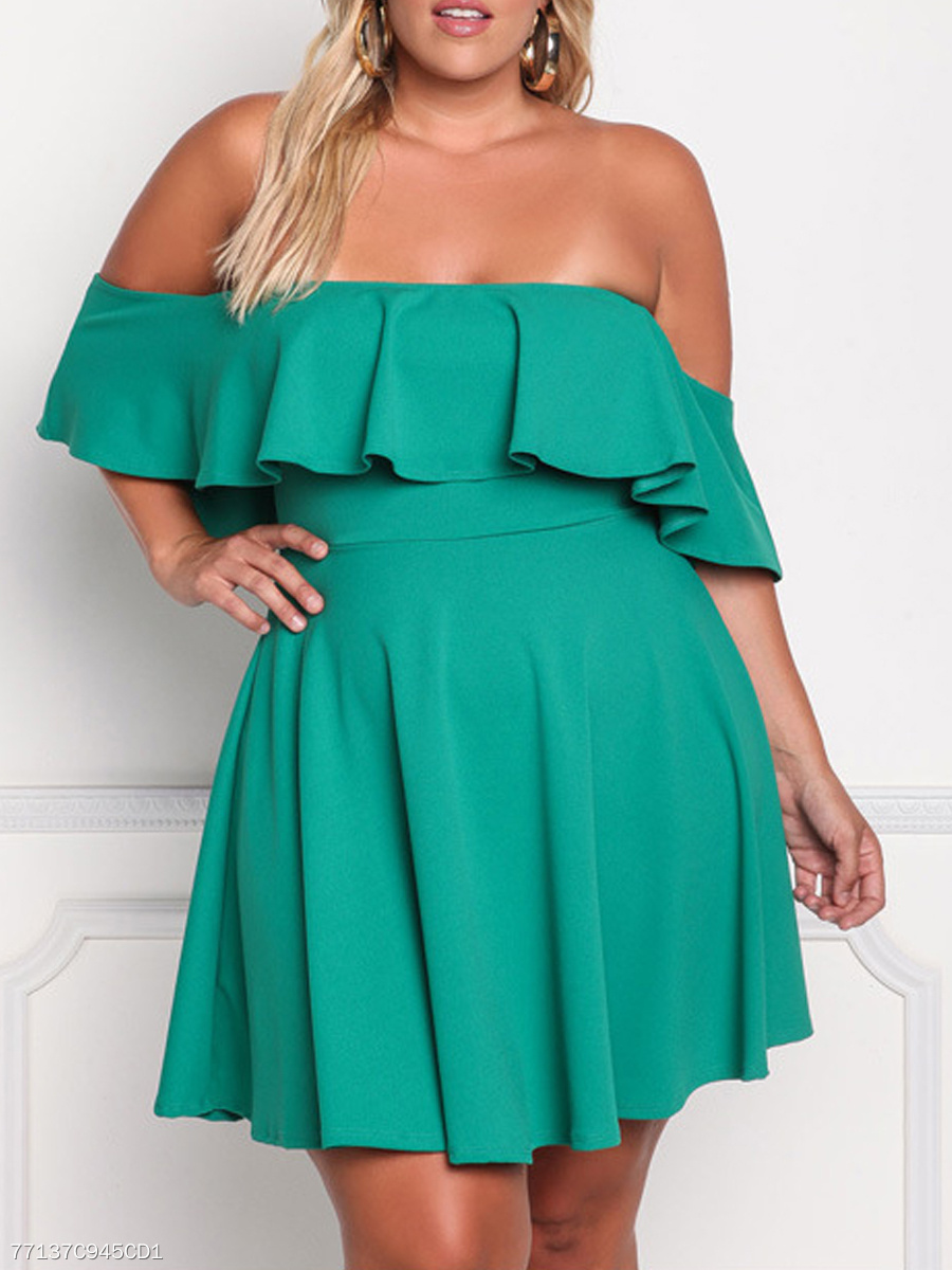 Open Shoulder  Flounce  Blend Plus Size Flared Dress