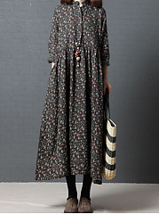 Band Collar  Printed Maxi Dress