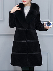 Lapel  Slit Pocket  Plain Striped  Long Sleeve Coats