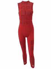 Alluring-Band-Collar-See-Through-Plain-Slim-Leg-Jumpsuit