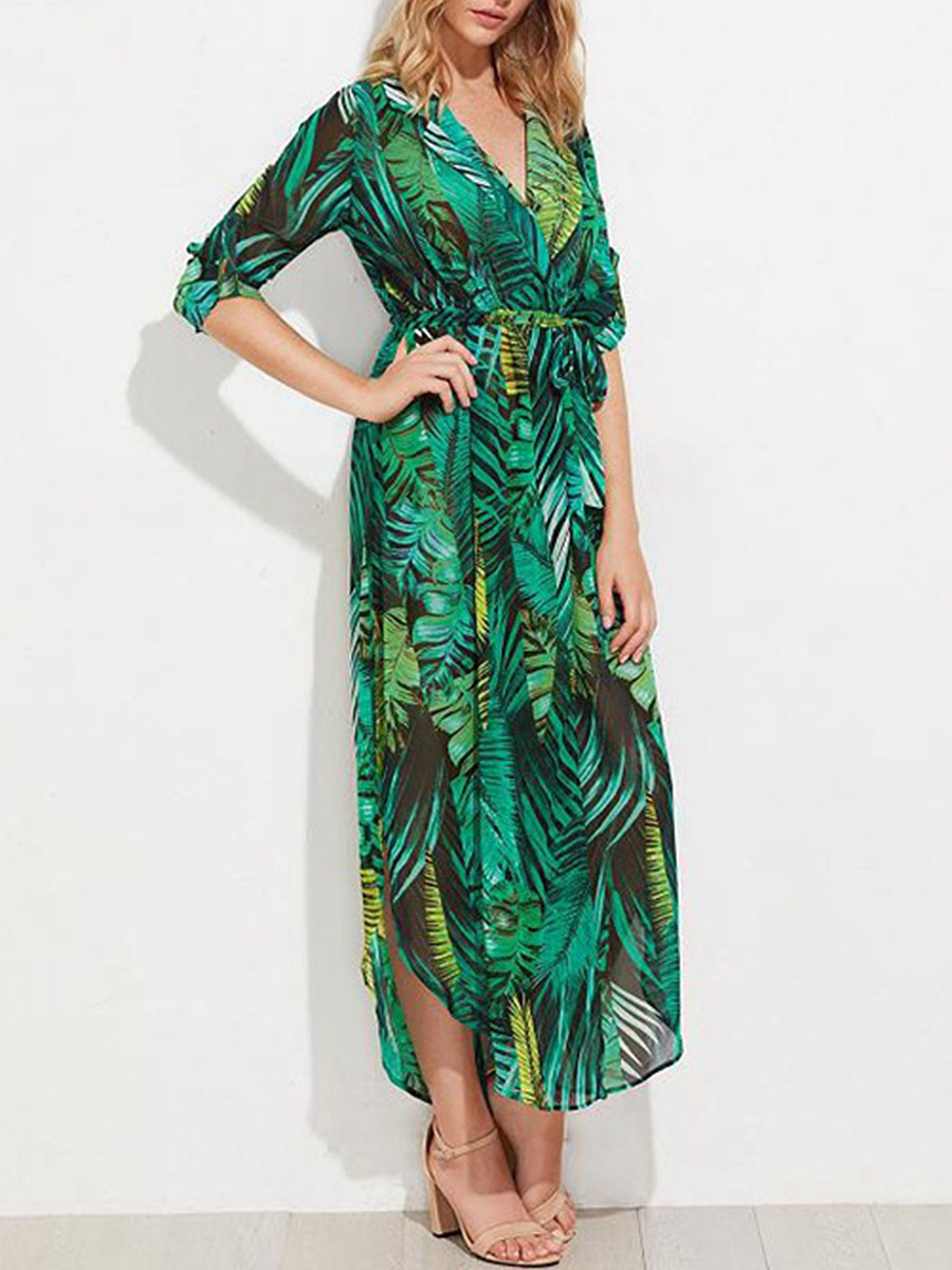 Surplice  Belt  Printed Maxi Dress