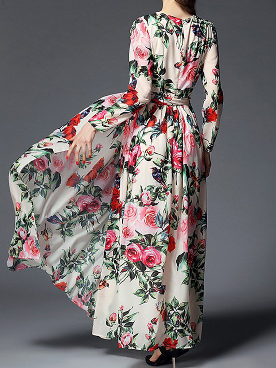 Captivating Swing Floral Printed Round Neck Maxi Dress