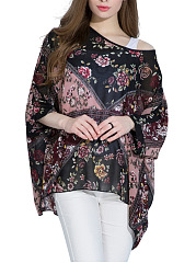 Floral-Printed-Chiffon-See-Through-Batwing-Sleeve-Tunic