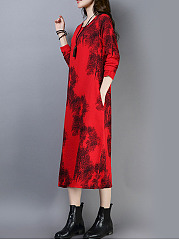 Round Neck  Printed Calf-Length Maxi Dress