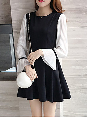 Round Neck  Colouring Skater Dress