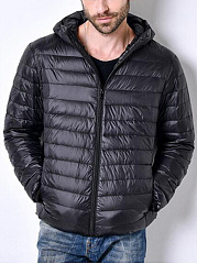 Basic Hooded Pocket Plain Men Down Coat
