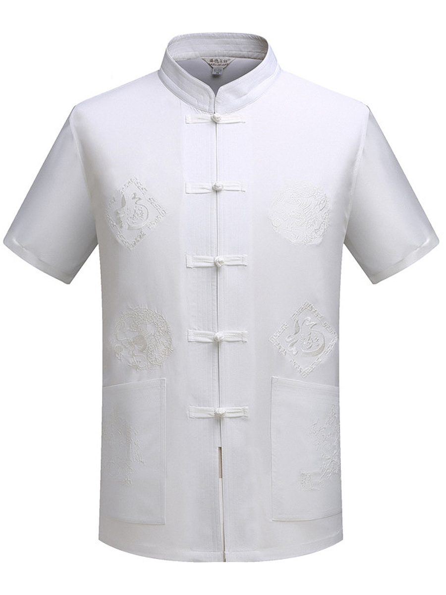 Men Embroidery Plain Band Collar Short Sleeve Shirts - fashionMia.com