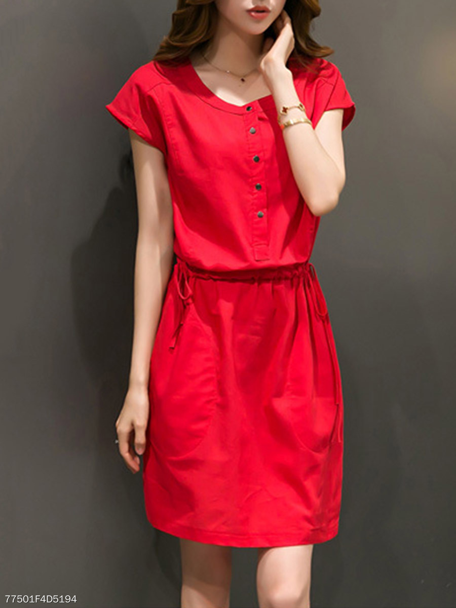 Round Neck  Drawstring Slit Pocket  Plain Skater Dress