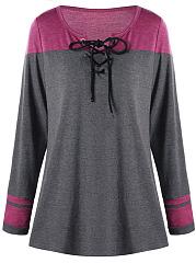 Split-Neck-Lace-Up-Color-Block-Plus-Size-T-Shirt