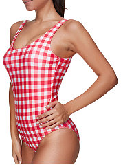 Backless  Contrast Piping  Striped One Piece