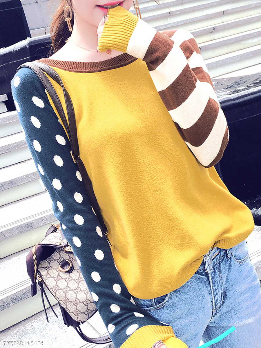 Crew Neck  Color Block Polka Dot Striped  Long Sleeve Sweaters Pullover