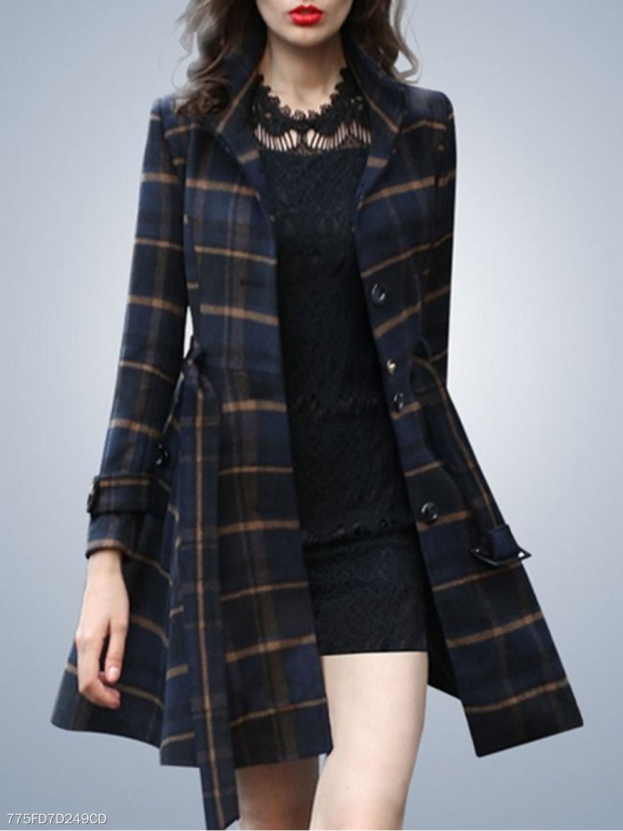 Stunning With Pockets Decorative Buttons Plaid Overcoats
